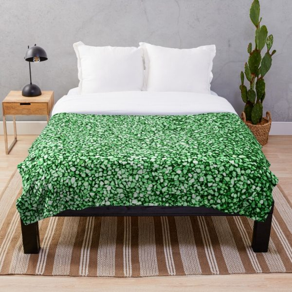 Artistic and Cool Green Stone Print Blanket