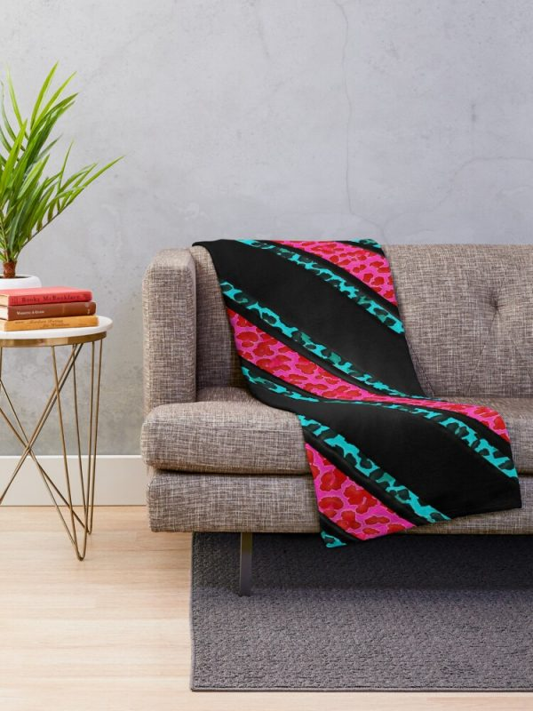 Black Pink and Blue Animal Stripe Throw Blanket for Living Room