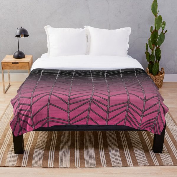 Black and Pink Retro Stripe Throw Blanket