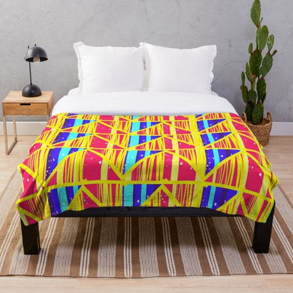 Bright Funky Moroccan Art Deco Throw Blanket