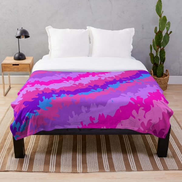 Bright Funky Waves and Stripes Throw Blanket