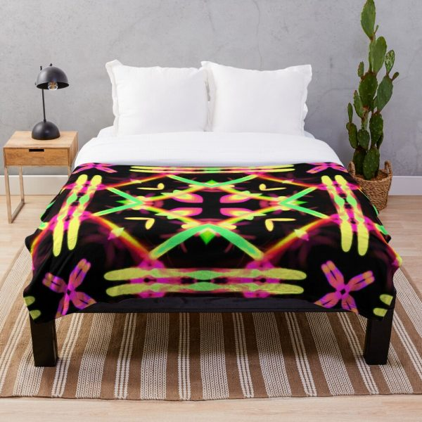 Bright Funky and Colorful kaleidoscope Throw Blanket