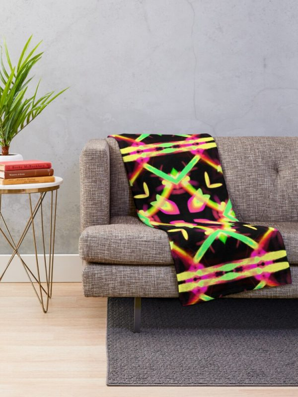 Bright Funky and Colorful kaleidoscope Throw Blanket Living Room