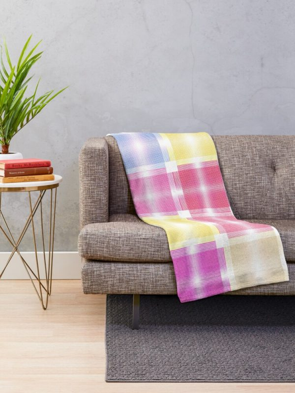 Chic Cool and Pretty Pastel Patchwork Throw Blanket Living Room