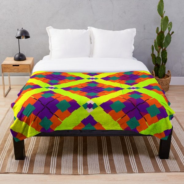 Colorful Funky and Bright Eclectic Throw Blanket