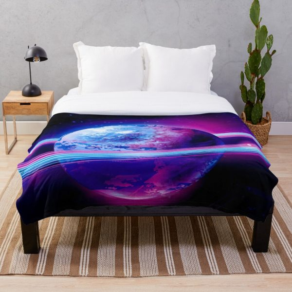 Cool yet Colorful Fantasy Planet Throw Blanket