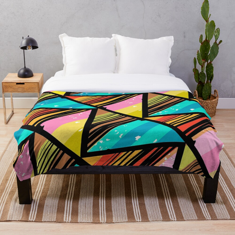 Funky Eclectic Colorful Art Deco Moroccan Print Throw Blanket