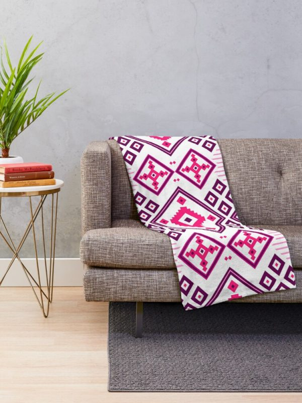 Glam Girly Moroccan Patchwork Throw Blanket for Living Room