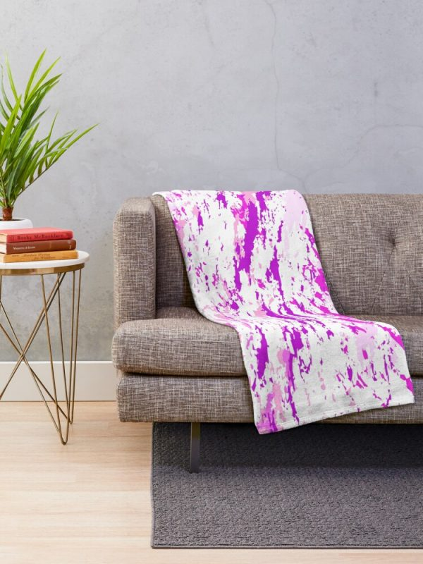 Modern Girly Grunge Paint Splatter Throw Blanket Living Room