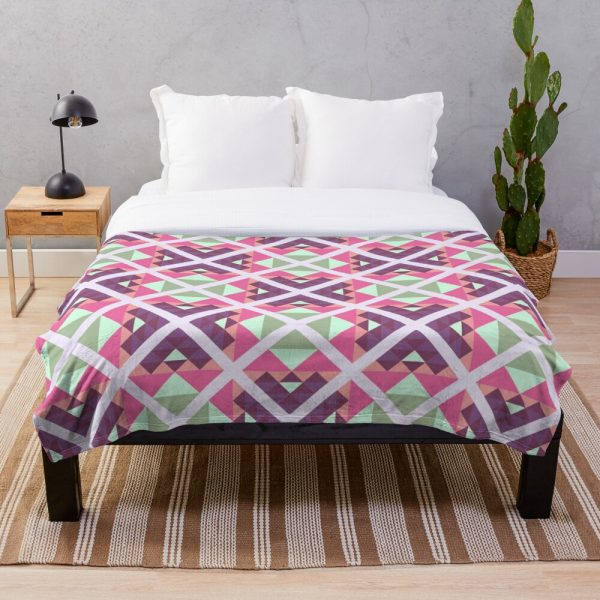 Modern Pink Green Pastel Throw Blanket