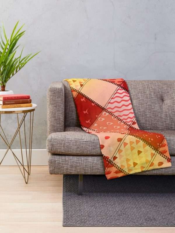 Orange and Peach Patchwork Color Block Throw Blanket Living Room