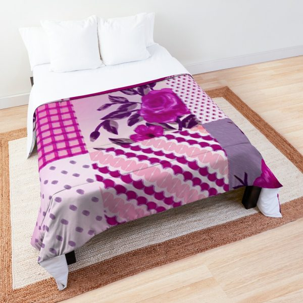 Pink and Purple Floral Patchwork Squares Comforter