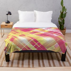 Pretty Pink and Yellow Striped Throw Blanket