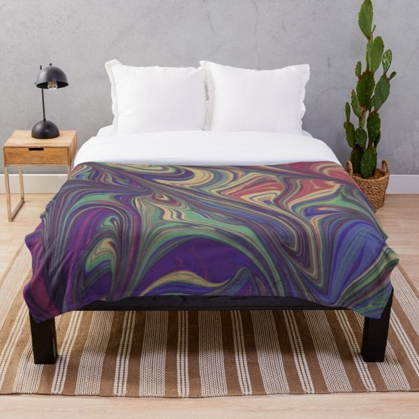 Psychedelic Liquid Effect Throw Blanket