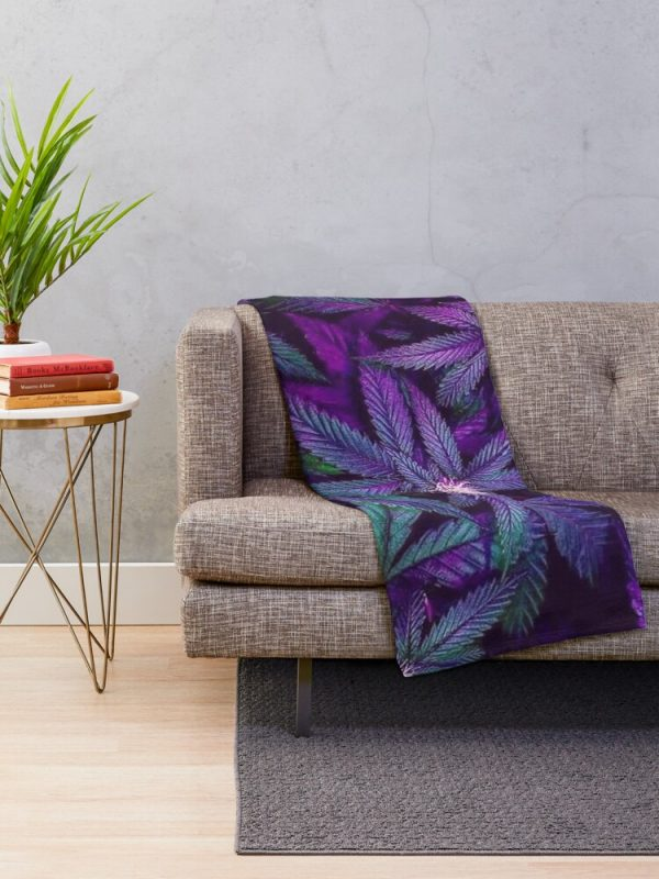Psychedelic Marijuana Throw Blanket Living Room