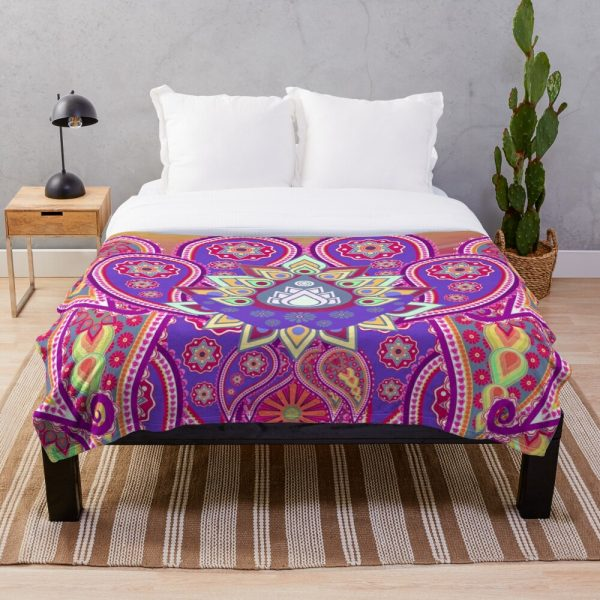 Psychedelic Paisley Colorful Floral Throw Blanket