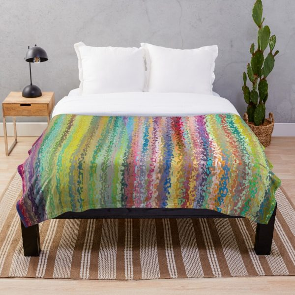 Rainbow Bright Stained Glass Stripe Throw Blanket