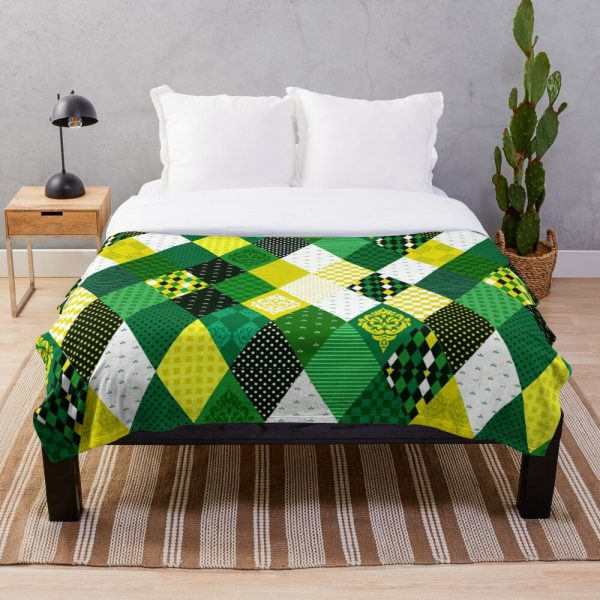 Whimsical Cute Country Green Patchwork Throw Blanket