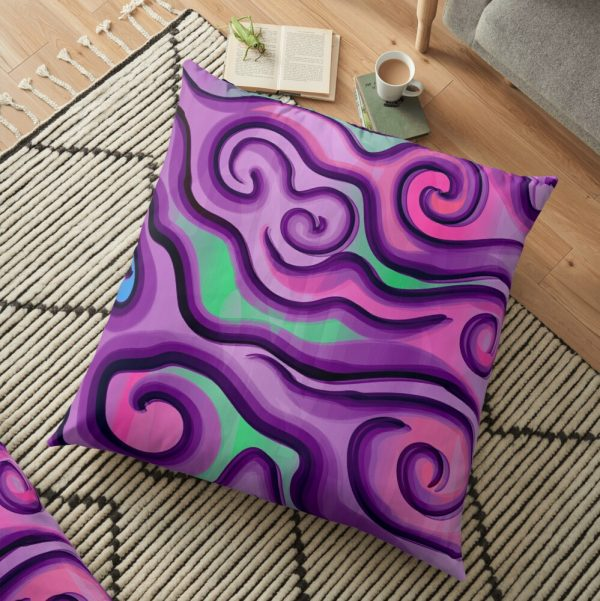 Psychedelic Swirls and Lines Pattern Floor Pillow