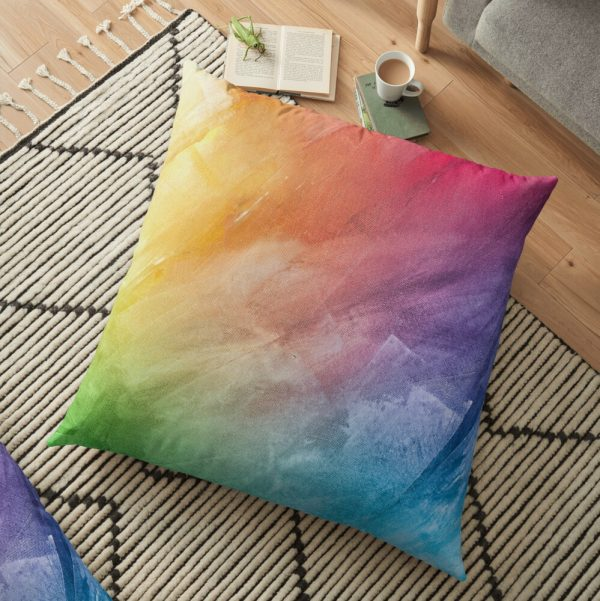 Colorful Psychedelic Rainbow Artwork Floor Pillow