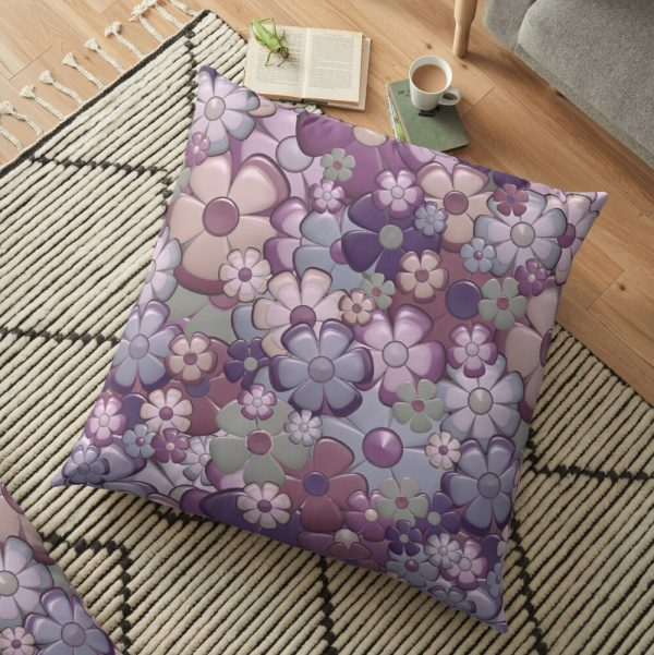 Pastel Flowers Hippie Print Floor Pillow