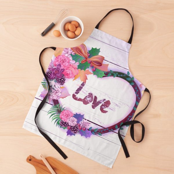 Shabby Chic Hearts on Distressed Wood Apron