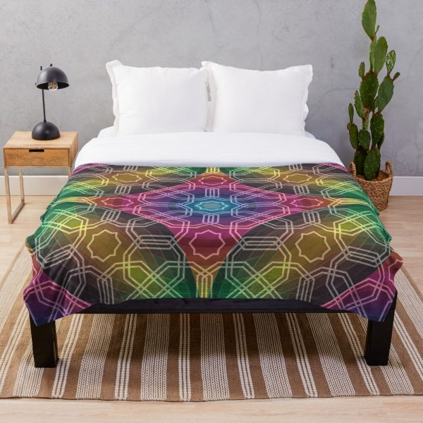 Colorful Geometric Rainbow Pattern Throw Blanket