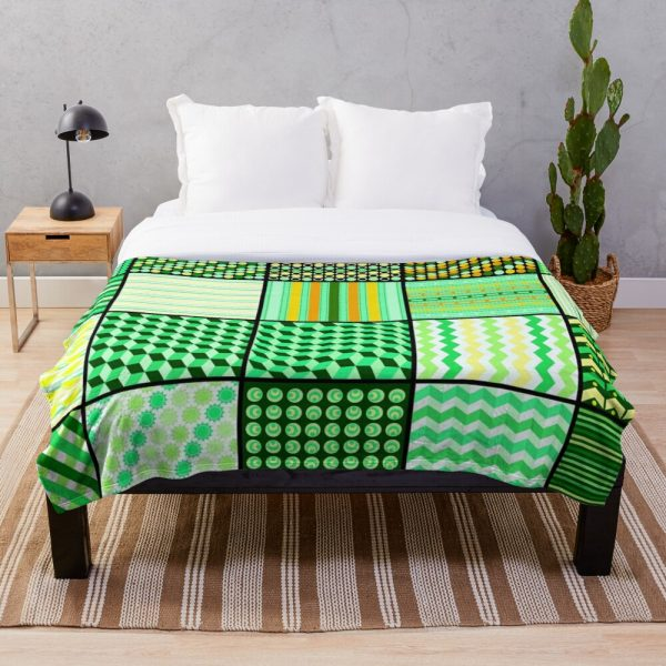 Funky Eclectic Green Patchwork Bohemian Throw Blanket