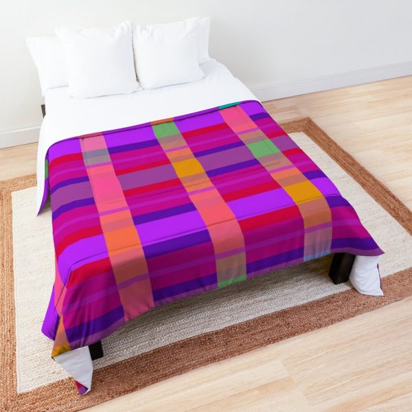 Psychedelic Rainbow Color Block Design Comforter