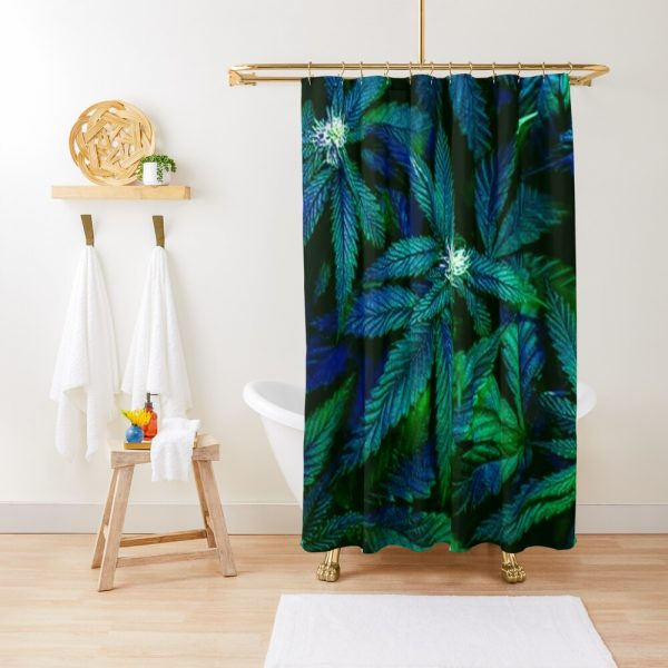 Psychedelic Ganja Weed Cannabis 420 Print Shower Curtain