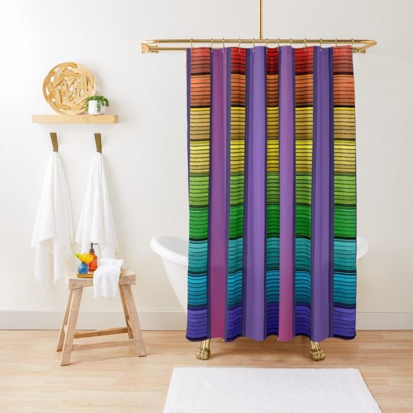 Bohemian Indie Rainbow Stripe Pattern Shower Curtain
