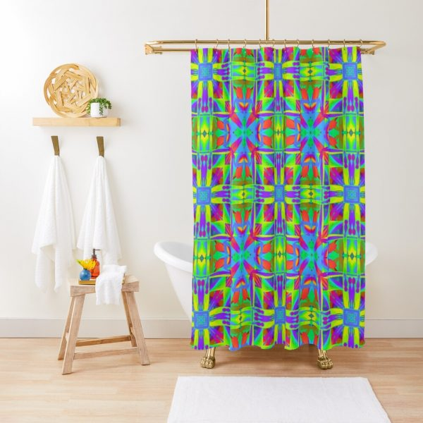Bohemian Sacred Geometry Print Shower Curtain