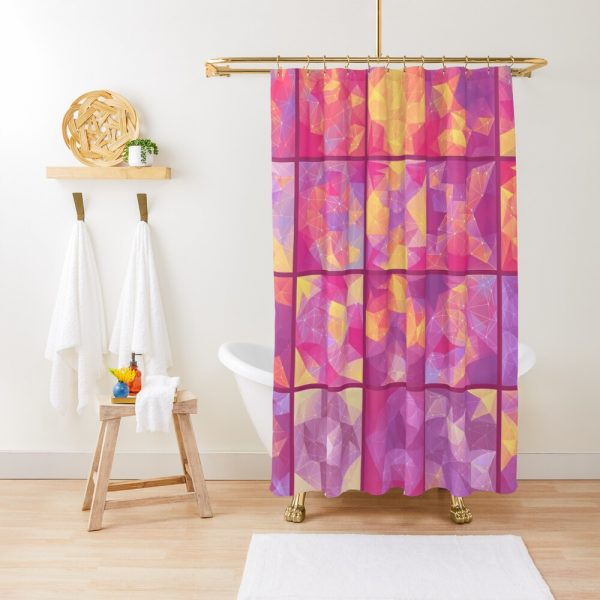 Psychedelic Colorful Bright Color Block Explosion Shower Curtain
