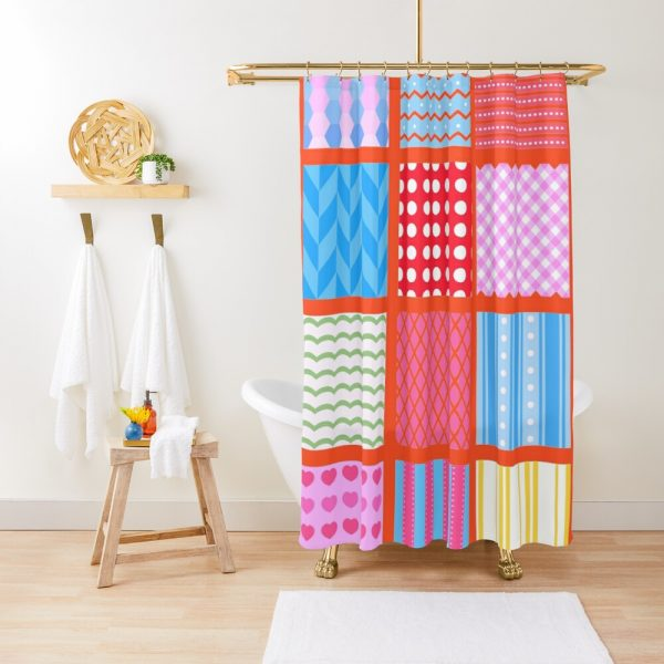 Patchwork Stripe Polka Dot Quilt Chevron Print Shower Curtain