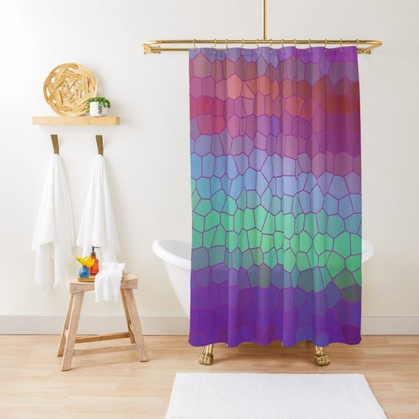 Mosaic Stained Glass Psychedelic Print Shower Curtain