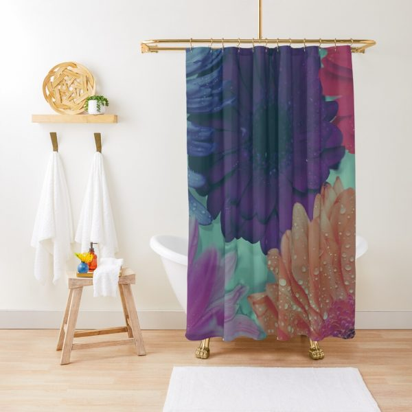 Hipster Bohemian Tropical Flowers Shower Curtain