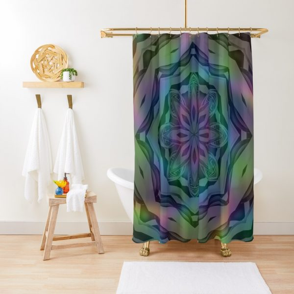 Mandala Metallic Holographic Psychedelic Shower Curtain