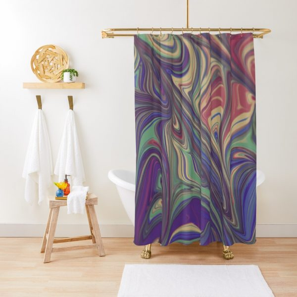 Psychedelic Liquid Pour Colorful Print Shower Curtain