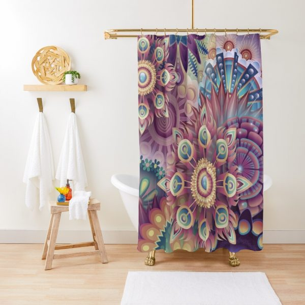 Psychedelic Kaleidoscope Wilderness Shower Curtain