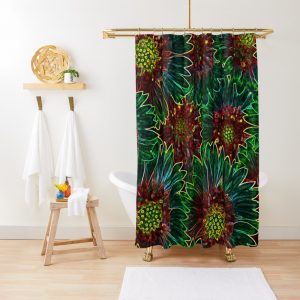 Psychedelic Retro Hipster Sunflowers Shower Curtain
