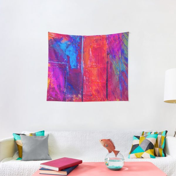 Psychedelic Portal Void Colorful Artwork Tapestry