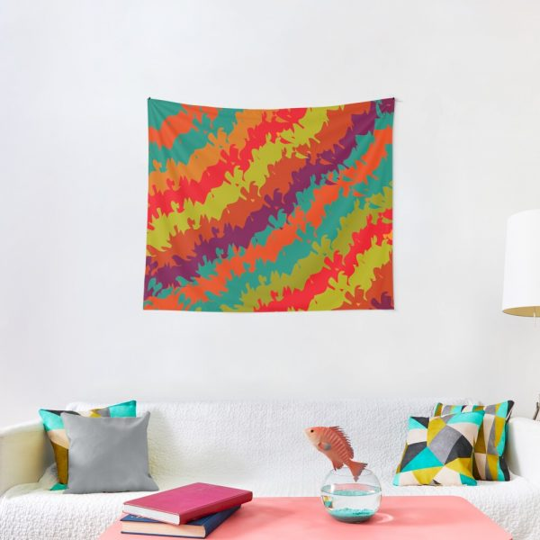 Bright Waves and Stripes Print Tapestry