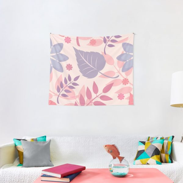 Pretty Girly Pastel Leaves Print Tapestry