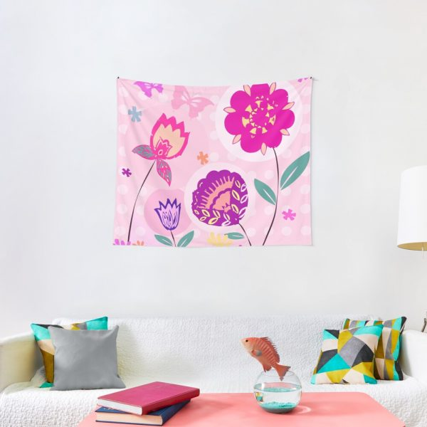 Hipster Flowers Pastel Floral Print Tapestry