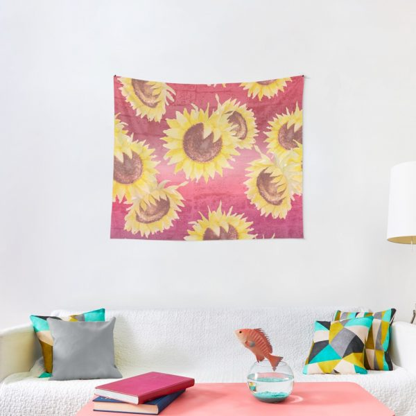 Pretty Sunflowers on Distressed Brick Tapestry