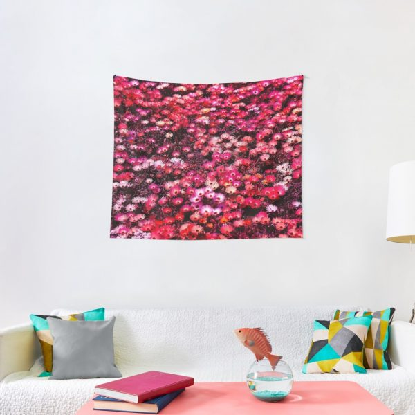 Spring Garden Field of Blooms Floral Print Tapestry