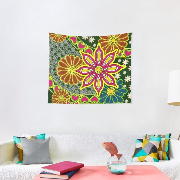 Japanese Inspired Floral Decor Print Tapestry