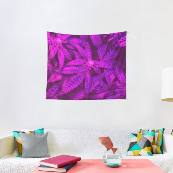 Psychedelic Cannabis Pink Marijuana Leaves Tapestry