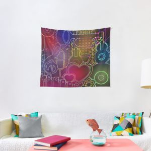 Music City Flowers and Hearts Tapestry