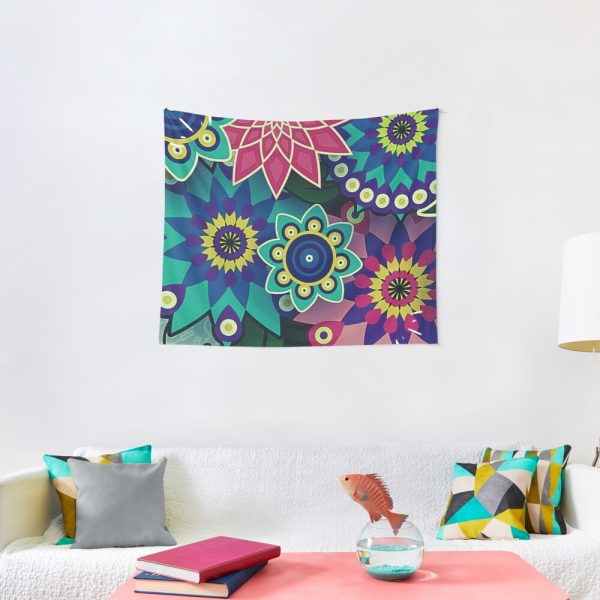 Psychedelic Wildflowers and Kaleidoscopes Print Tapestry